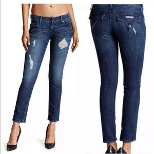 HUDSON DISTRESSED COLLIN FLAP SKINNY ANKLE JEANS